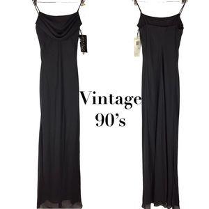 Vintage 90's cow neck maxi formal floor dress